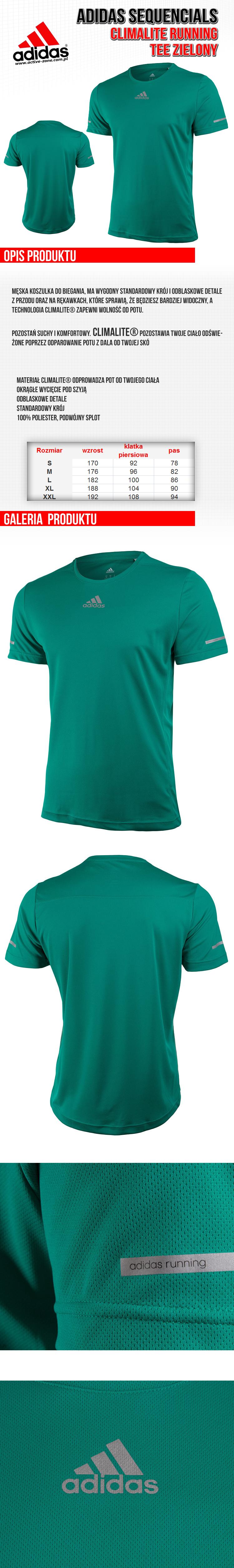 Adidas Sequencials Climalite Running Tee Zielony 1