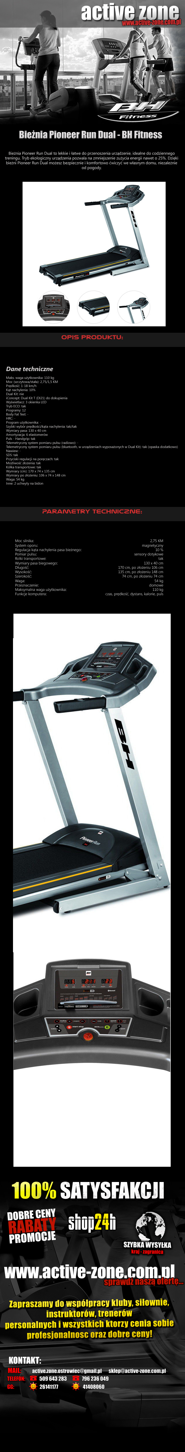 Bieżnia Pioneer Run Dual - BH Fitness 1