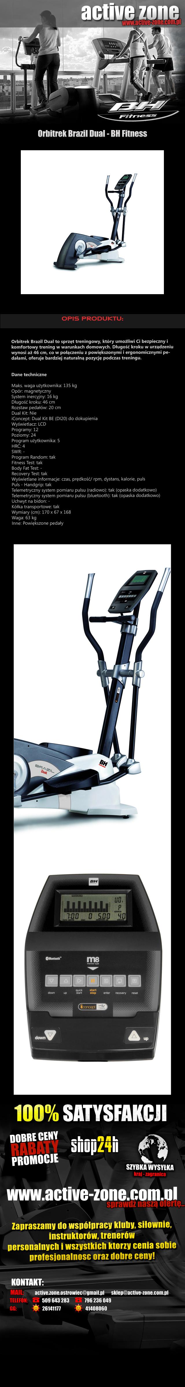 Orbitrek magnetyczny Brazil Dual - BH Fitness