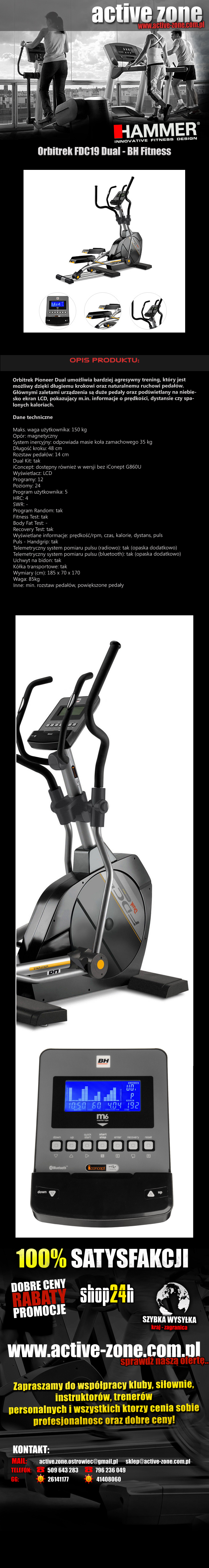 Orbitrek magnetyczny FDC19 Dual - BH Fitness