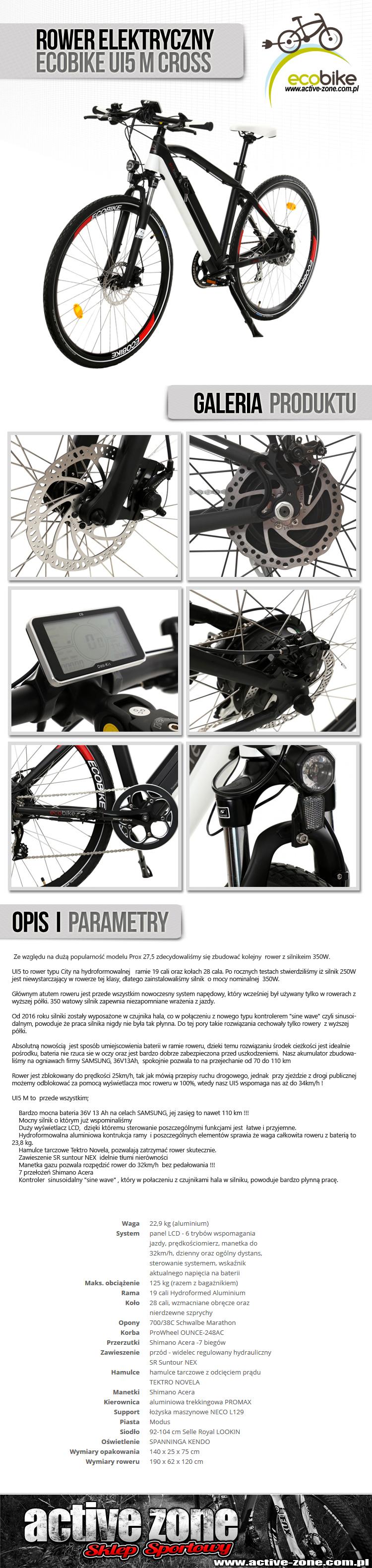 Rower elektryczny EcoBike UI5 M Cross 1