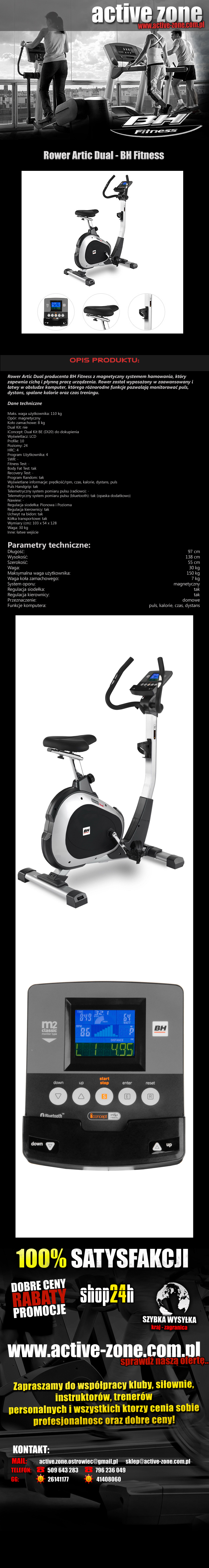 Rower magnetyczny Artic Dual - BH Fitness