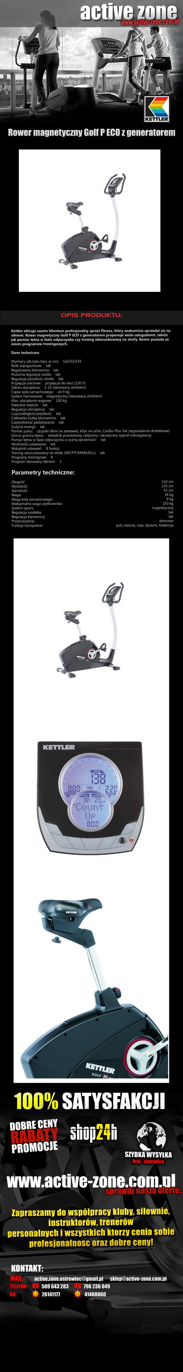 Rower magnetyczny Golf P ECO z generatorem - Kettler